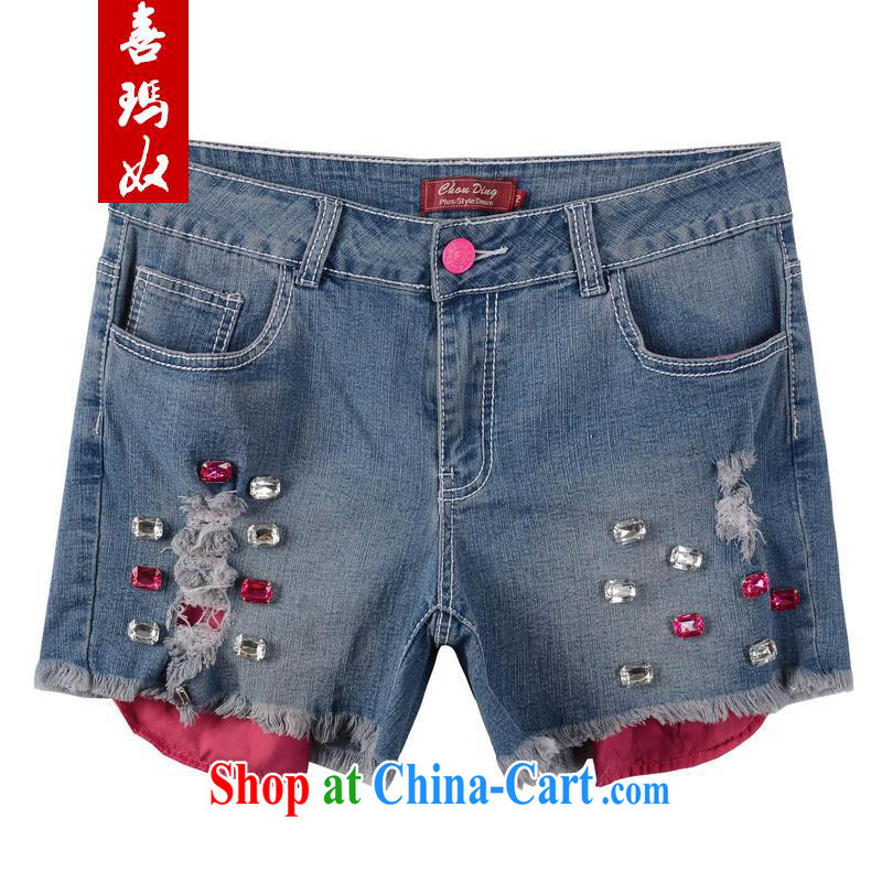 Hi Maria slavery summer new Korean version the code dress elasticated waist beads staple hole jeans thin hot pants M 76,919 red 38_ _160 - 170 _ jack