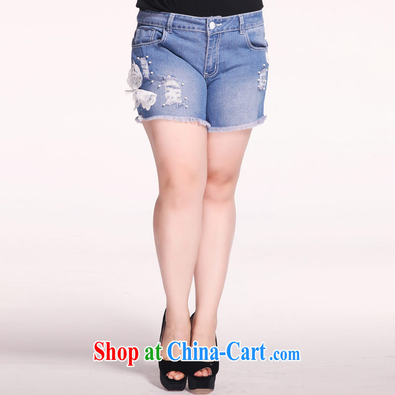 Hi Princess slave Korea version of the greater code female summer new stretch elastic waist beauty thin jeans hot pants M 76,939 roses 42 code 220 Jack concept about