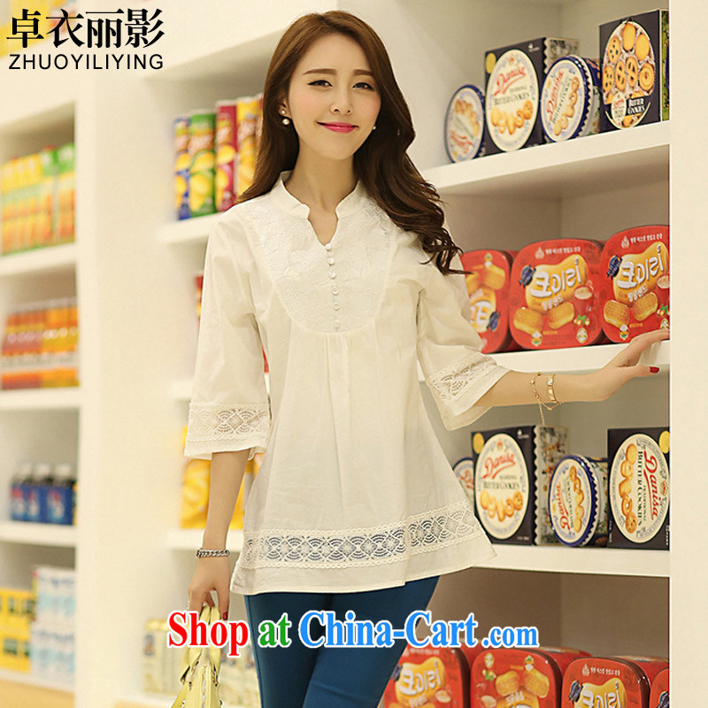 Mr Cheuk Yi Lai film 2015 the Code women's clothing, for retro embroidery loose video thin girl shirt thick MM 100 ground T-shirt B 402 white 2XL