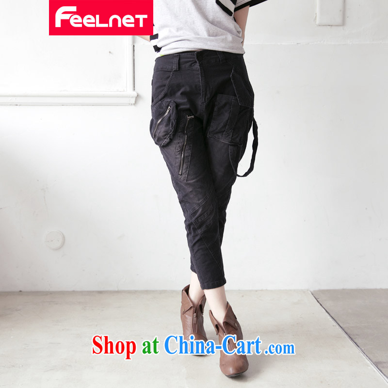 feelnet Korean version mm thick 2015 XL female summer new graphics thin wash water corduroy large code 7 pants 2155 black 38