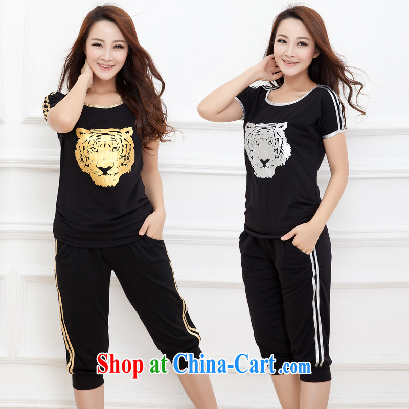 mm thick summer 2014 new larger female thick sister sport and leisure package short-sleeve 7 pants tiger head of black gold 5 XL