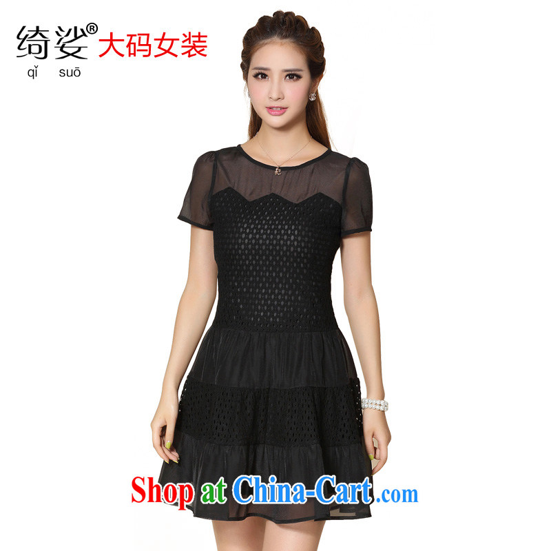 cheer for the fat increase, women with thick MM summer new lace thick sister graphics thin large dresses xxxxl number 2138 black 2 XL