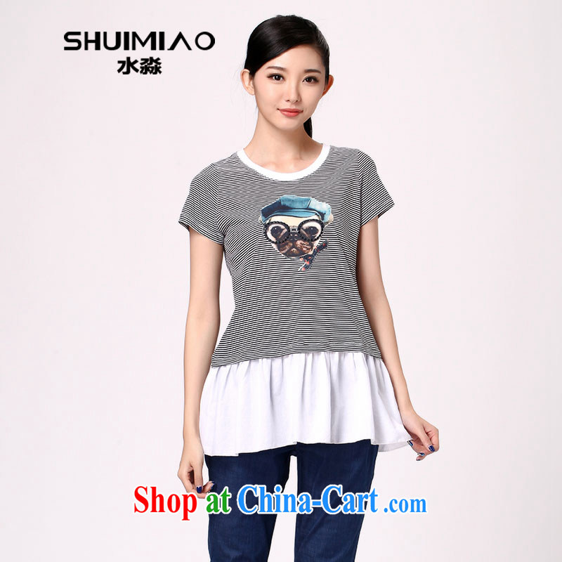 Water with thick mm summer 2014 new products, female Korean fashion stripes graphics thin loose T pension S XB 14 3263 black-and-white, 3 XL
