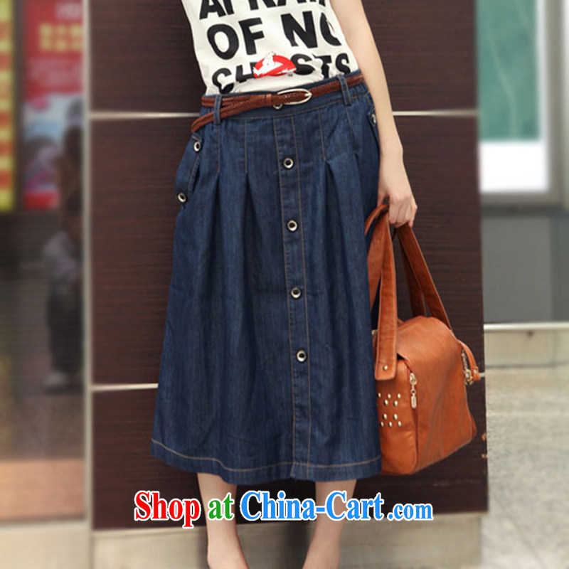 Increase the thick mm summer 2014 the code dress dresses thick sister denim dress 100 hem long body skirt denim blue 3 XL recommendations 170 - 190 jack