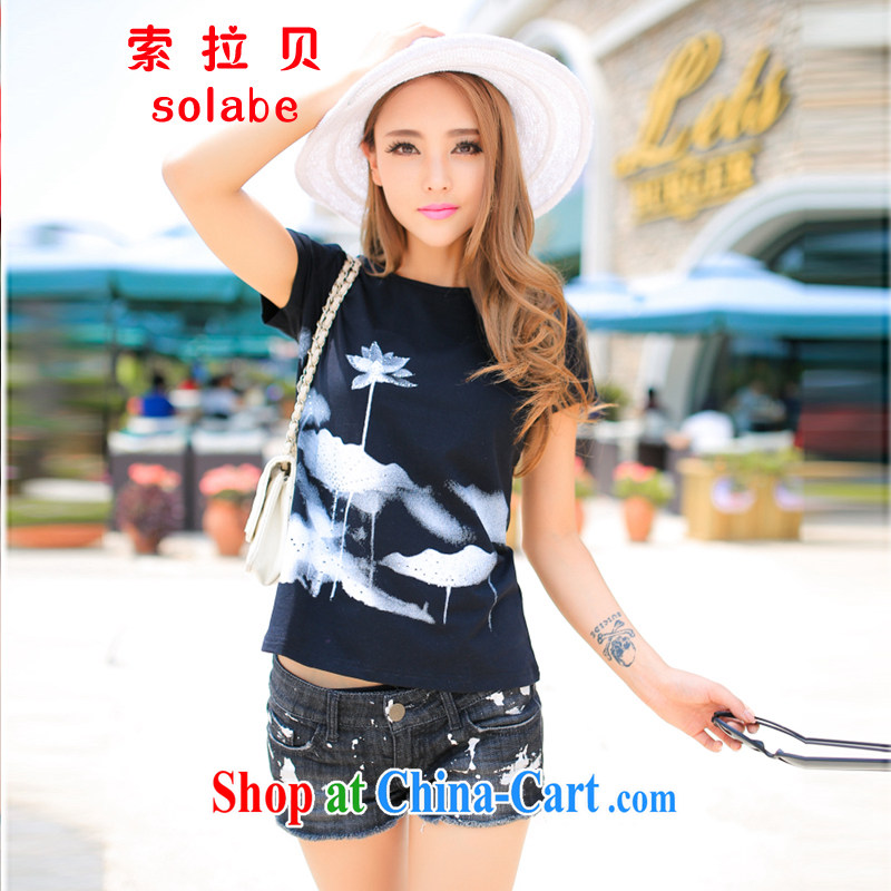 Solabe/the Addis Ababa summer new Korean female short-sleeve shirt T female beauty graphics thin large Code T shirts, Diana's flouncing hot drill 621 black 3 XL