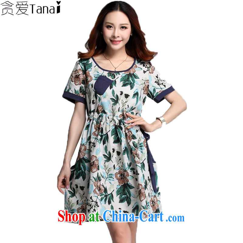 Loved summer linen/cotton stamp arts loose tie-down fat, video thin large code female short-sleeved dresses 3528 green XXXXL