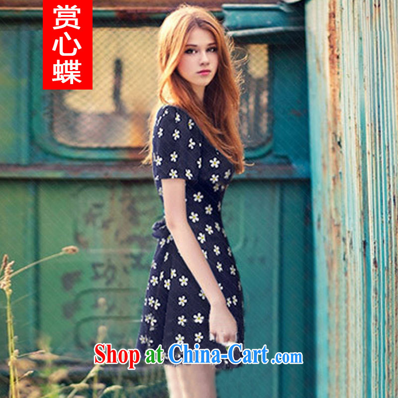 The butterfly summer 2014 new Europe XL female dress mm thick snow woven short-sleeved beauty graphics thin stamp skirt 6008 Tibetan cyan 4 XL
