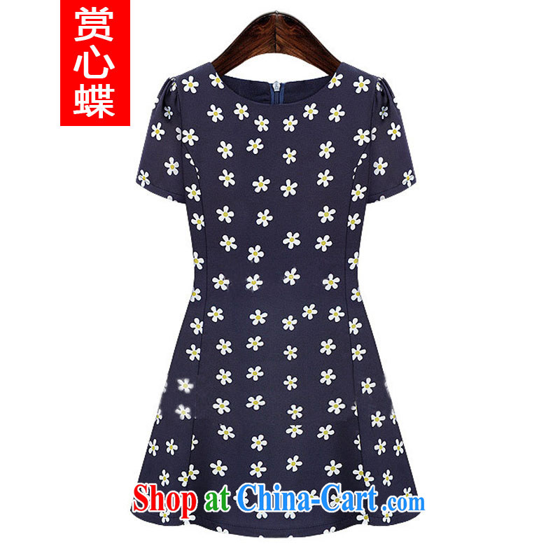 The butterfly summer 2014 new Europe XL women dress mm thick snow woven short-sleeved beauty graphics thin stamp skirt 6008 Tibetan cyan 4 XL and the Butterfly (SHANGXINDIE), online shopping