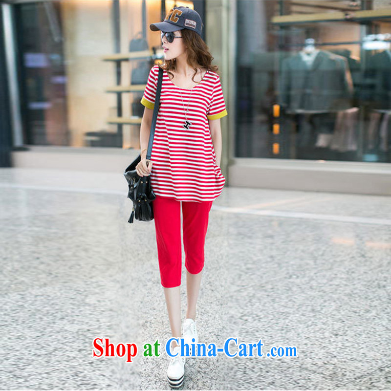 Modern idea new striped cotton package thick MM can pass through T article pension tension with 7 pants two piece Combination Leisure package red XXXL