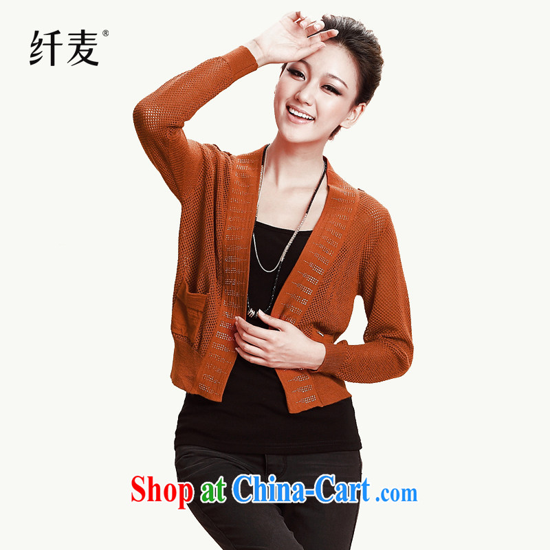 2014 mm thick Autumn with new knitting T-shirt large numbers on T-shirt sweater jacket HH 9805 orange L
