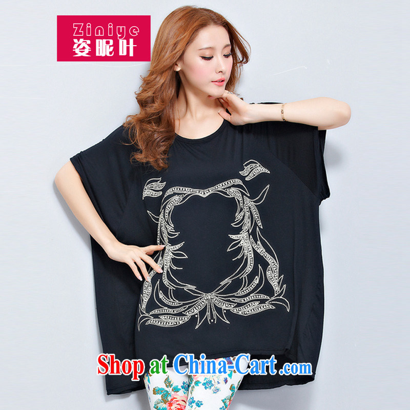 2014 spring and summer, new female short-sleeved T-shirt Han version, long, loose the code t-shirt black are code