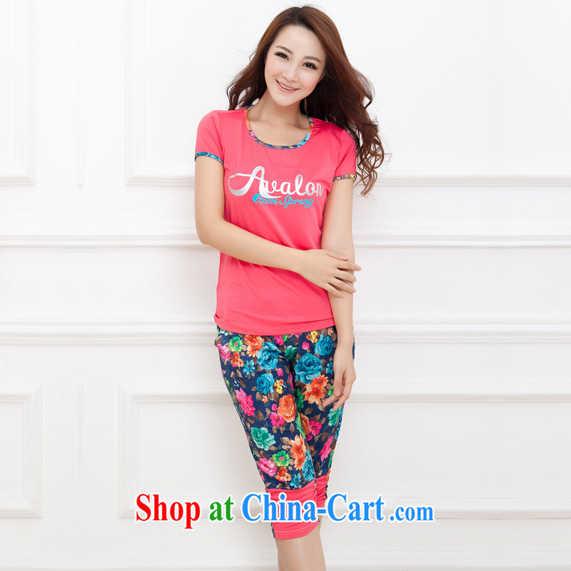 Increase the emphasis on MM summer 2014 New, and indeed increase, female Korean thick sister King code leisure package floral short-sleeved sport of red 4 XL recommendations 180 - 200 jack