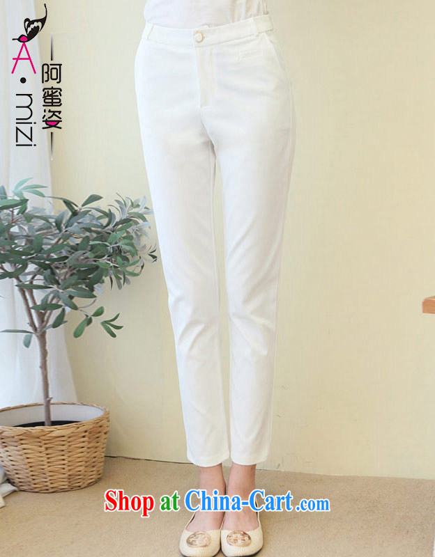 The honey and diverse expertise, the dress code female Korean style summer comfort waist graphics skinny pin 9 pants girls 9101 white XL