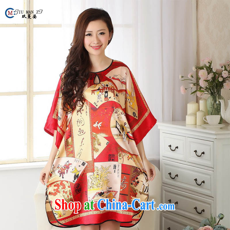 Ko Yo Mephidross beauty summer 2014 new style and comfortable large code ladies robes of ethnic wind stamp artificial silk ladies nightwear red are code