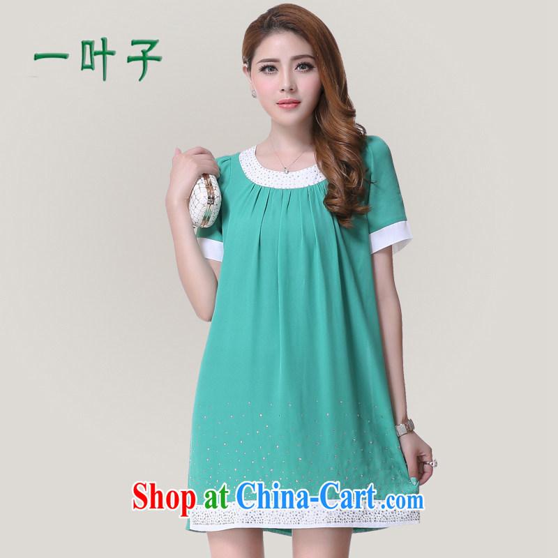 A leaf Korean simple wood drill larger women mm thick snow woven dresses green XXXXXL