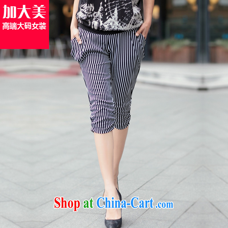 Increase the thick mm summer 2015 larger female 7 pants thick sister striped short New graphics thin pencil pants black-and-white stripes 5 XL recommendations 200 - 220 jack
