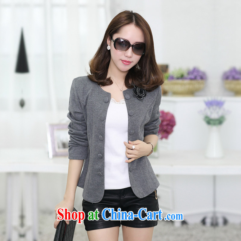Increase the fat XL women mm thick load fall 2015 new Korean video thin jacket thick sister cardigan small suit gray 4 XL recommendations 180 - 200 jack