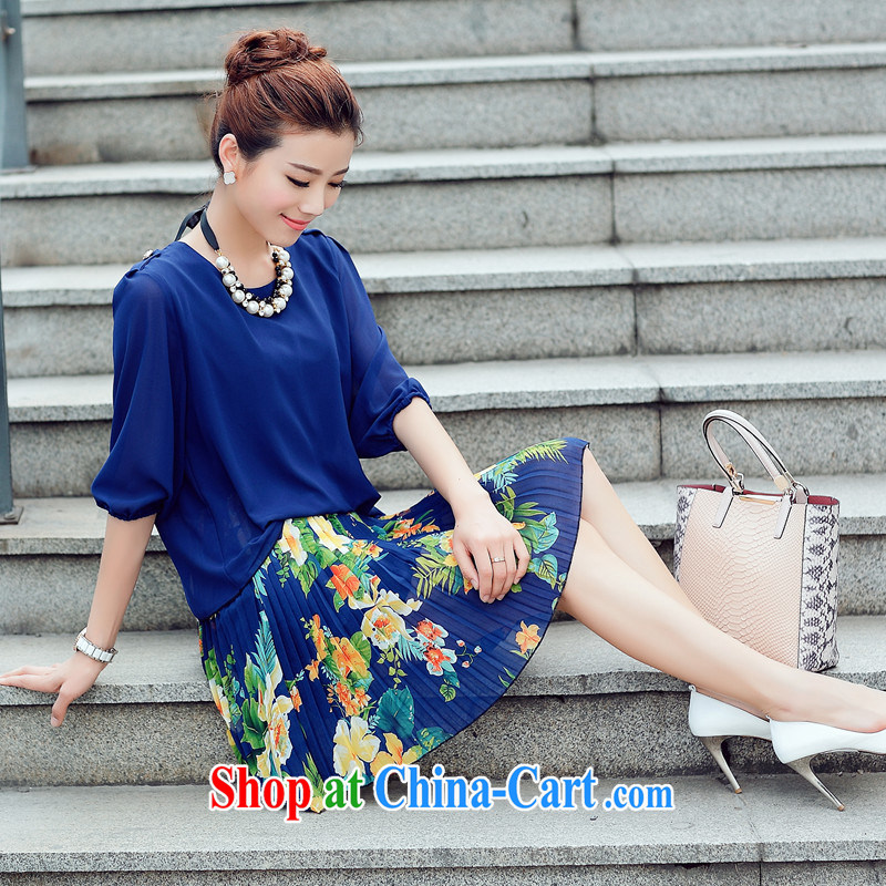 Increase the emphasis on MM summer 2015 New, and indeed increase, female fat sister Korean video thin King code stamp snow woven dresses 100 hem blue 2 XL recommendations 140 - 160 jack