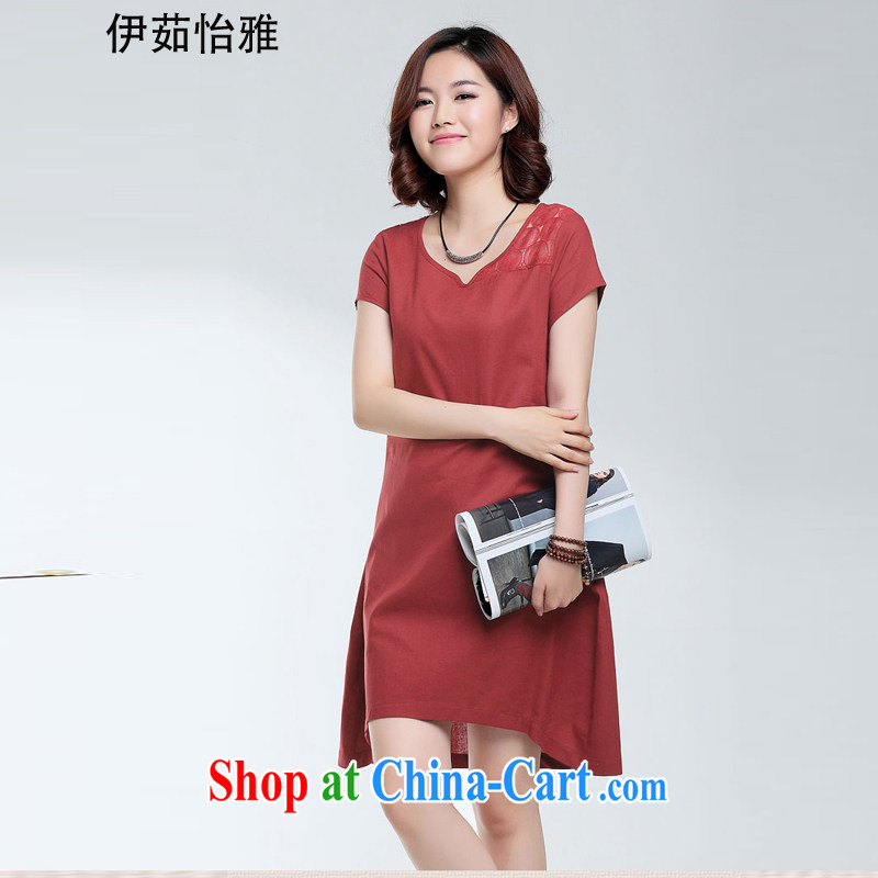 The Ju-Yee Nga summer new, larger female fat sister, older mothers with the cotton dress Y 90,186 maroon XXXL