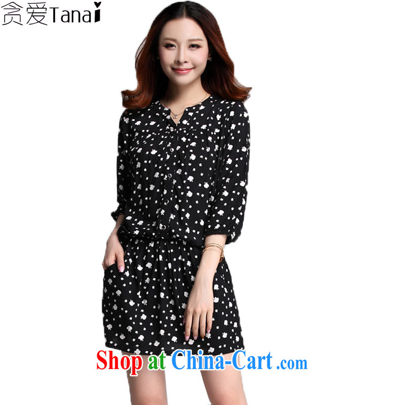 Loved summer Korean Elasticated waist thick MM graphics thin stamp larger female short-sleeve dress 3535 black XXXXL