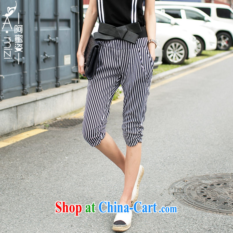 The honey beauty mm thick larger female summer ground 100 aura video thin black-and-white stripes, waist, 7 pants women 8321 black-and-white striped XXL