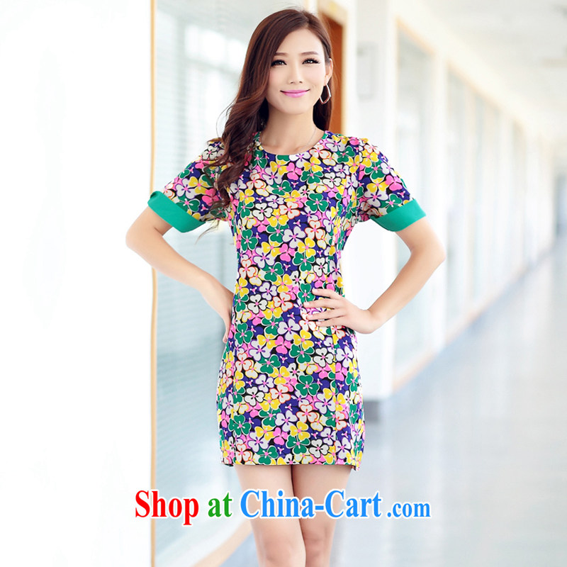 Increase the thick mm summer 2014 larger female graphics thin dresses thick sister short-sleeved floral skirt snow woven skirt floral 3 XL recommendations 160 - 180 jack