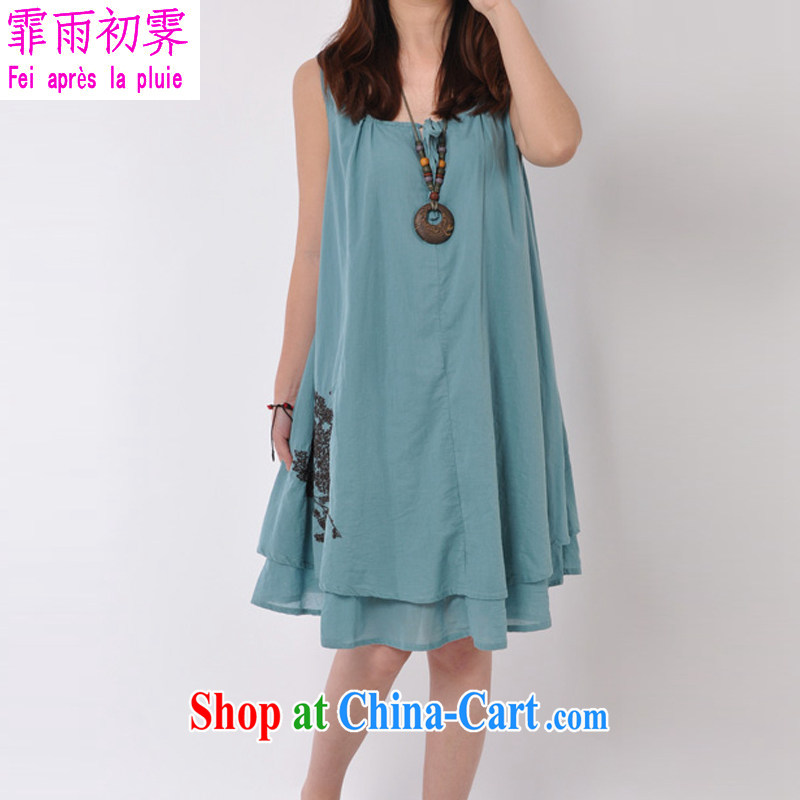 Onpress International Rain underglaze early summer 2015 with new Korean girl with the Code female ripstop taffeta overlay leisure Solid Color embroidered sleeveless vest dresses D 298 blue XL