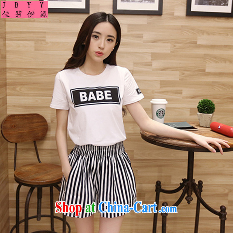 Better, the source new summer, 2015 cotton round-collar short-sleeve shirt T stylish striped short sleeve women 6181286 picture color XXL