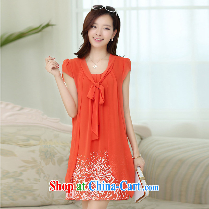 The European short-sleeved dresses girls in Long skirts, Korean version of the greater code female snow woven skirt thick mm video thin older mothers with orange XXXXXL