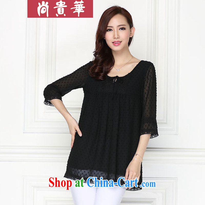 Yet, the larger female loose video thin thick MM replace lace snow woven shirts T-shirt black XXXXXL