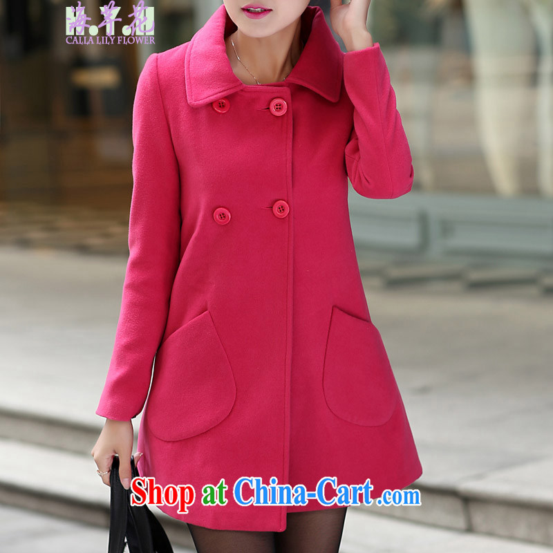 The line spend a lot code female winter new Korean video thin thick mm minimalist thick double-small pocket loose hair that jacket ST B - the red 4 XL