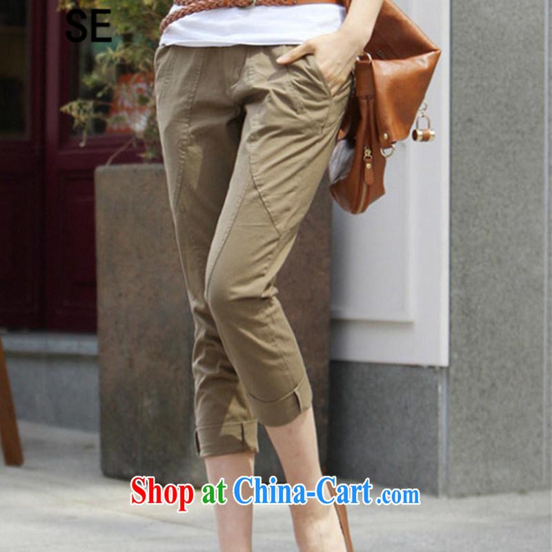 SE larger women 2015 summer new Korean Beauty graphics thin leisure fashion waist female 7 pants and color XXXL