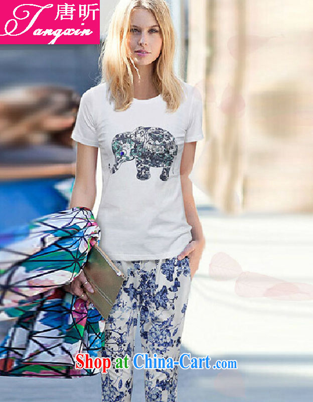 Tang year 2014 Summer in Europe and America, the girl is pure cotton short-sleeved T-shirt and Leisure Kit + spring 100 to suit Houston white + suit_8076 XL 110 - 125 about Jack