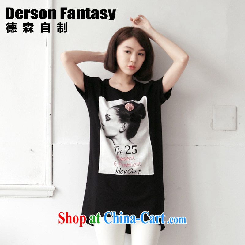 anderson, homemade Korean female sweet summer new 2014 loose short-sleeve girls T-shirt 2165 black M code