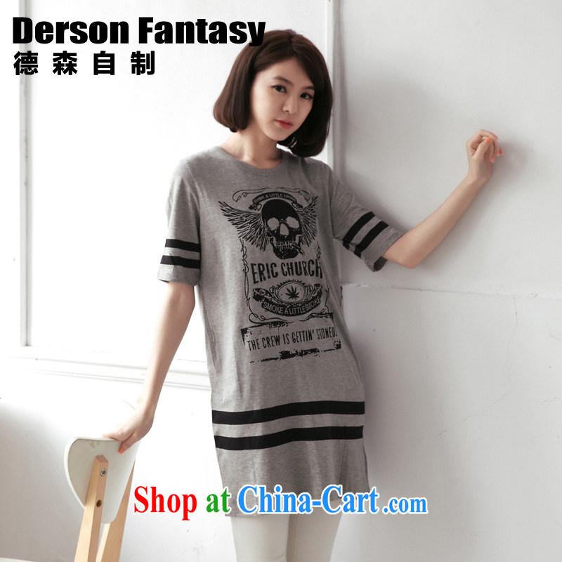 anderson, homemade Korean female sweet summer new 2014 loose short-sleeve girls T-shirt 2159 gray 6 XL code