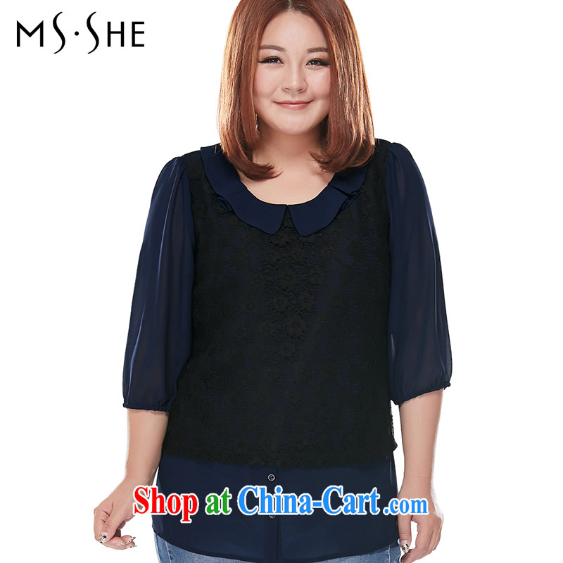 MSSHE XL female snow woven shirts 2015 new summer round-collar lace stitching 7 snow cuff woven shirts T-shirt T shirt 7327 blue 4 XL