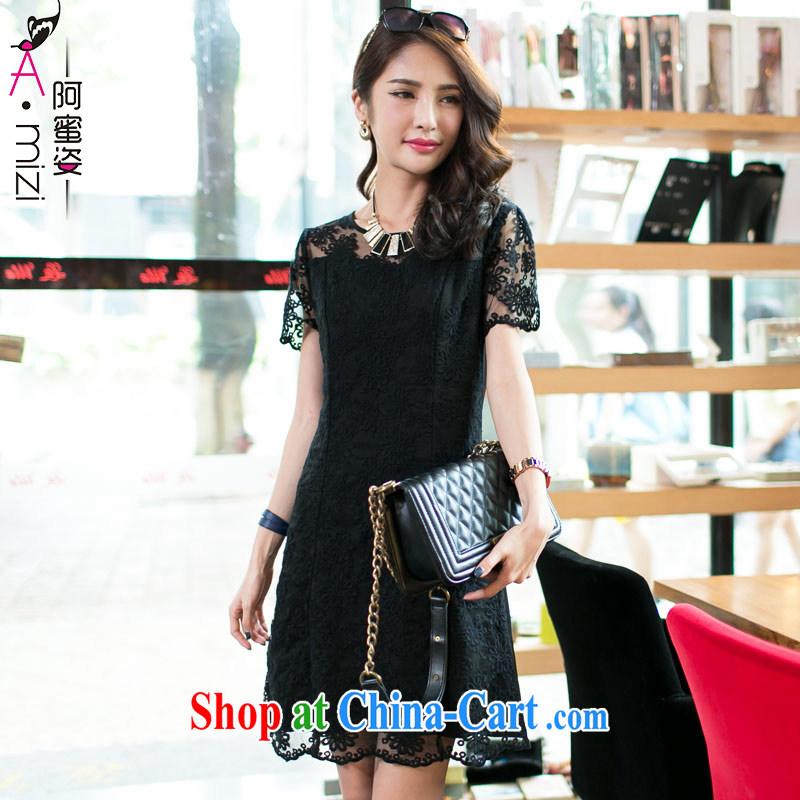 The honey and diverse large code female thick MM Korean new summer beauty aura video thin short-sleeve lace dress women 8558 black XXXL