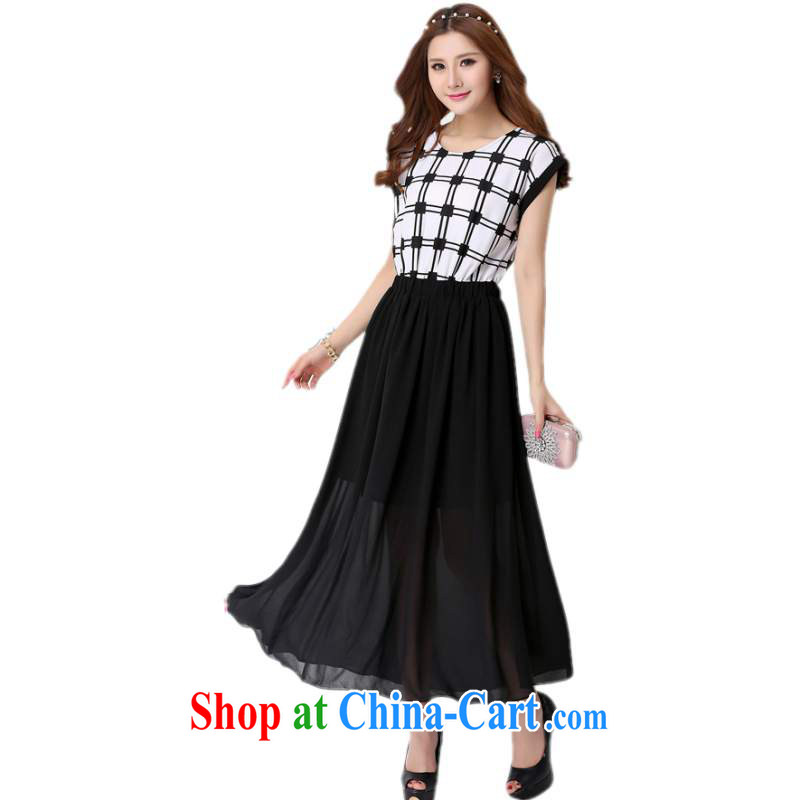 Constitution, colorful and obesity mm goddess style skirts 2015 summer fashion women dress waist stitching bat sleeves dress tartan skirts beach skirt black tartan 4 XL approximately 180 - 200 jack