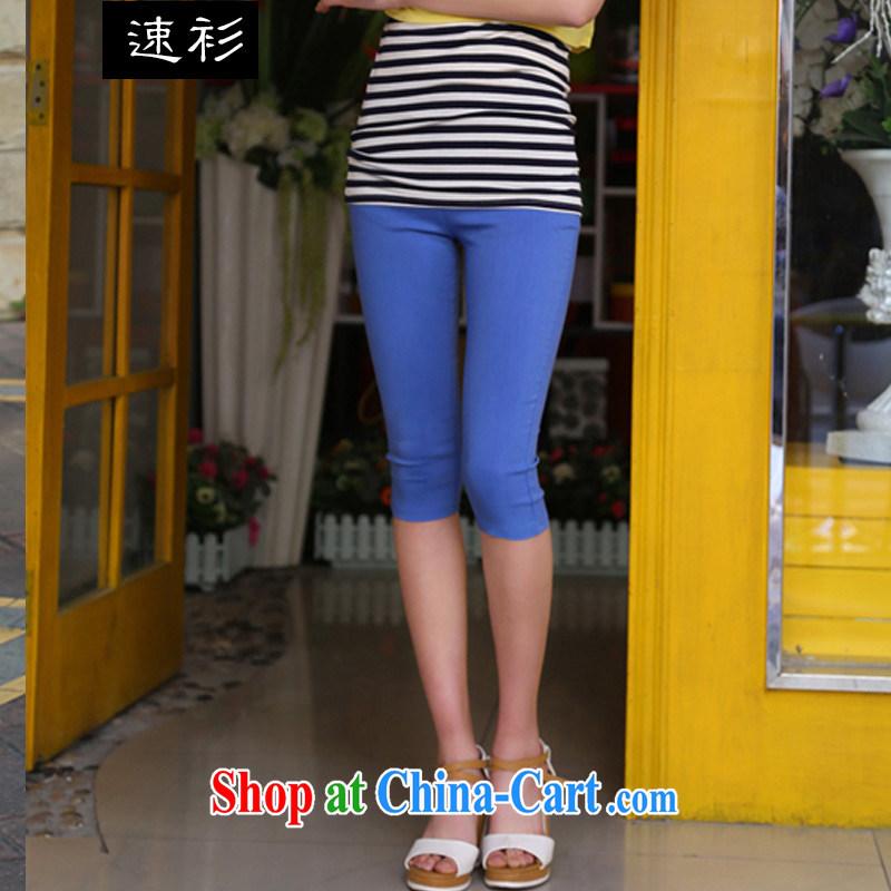 Speed T-shirt 2015 larger female summer Korean candy colored high-waist high tension 7 beauty pants XL leisure pants S 007 denim blue XXXXL