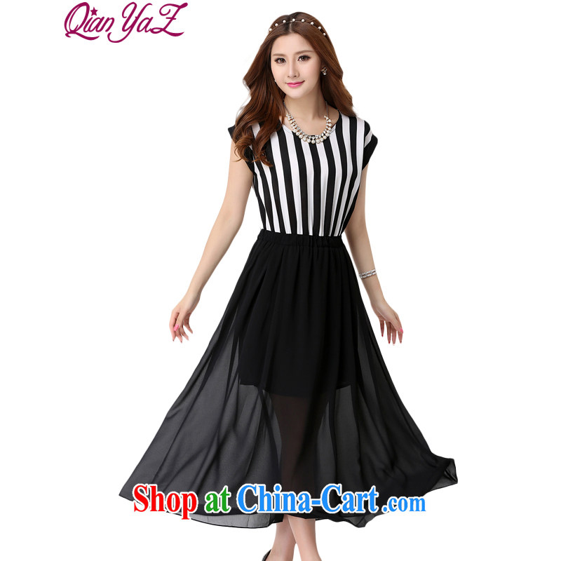 Constitution, colorful XL long skirt classic black-and-white streaks in Europe wind dresses 2015 summer thick sister snow woven stitching softness sleek beauty dress black 5 XL 190 - 210 jack