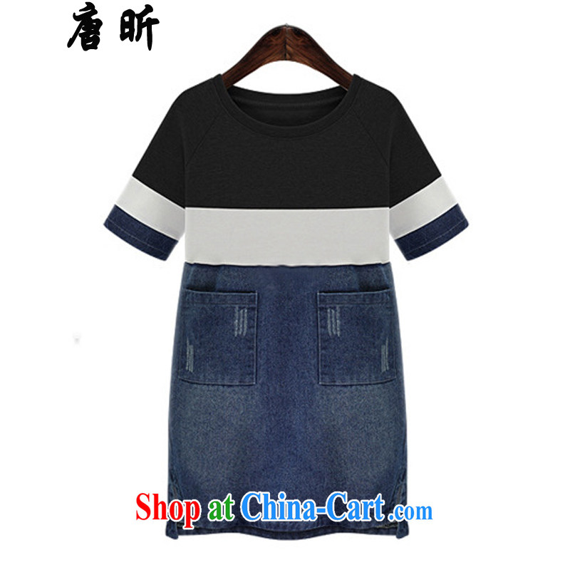 Tang year summer new, larger female American cowboy dress short-sleeved thick MM knitting stitching loose video thin black_1948 XL 5 185 - 195 about Jack