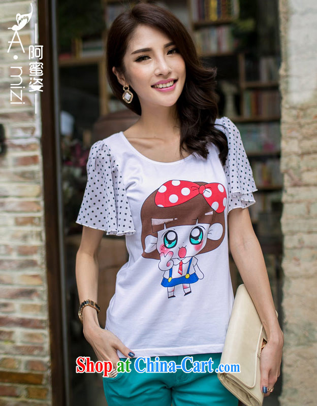 The honey beauty summer mm thick larger female sweet lovely stamp stretch cotton Summer Snow woven cuff T shirt T-shirt woman 9106 white XL