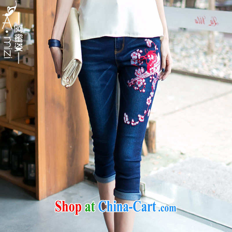 The honey beauty mm thick larger female summer Ethnic Wind embroidery Flower Spring beauty thin 7 jeans women 8751 dark blue XXXL