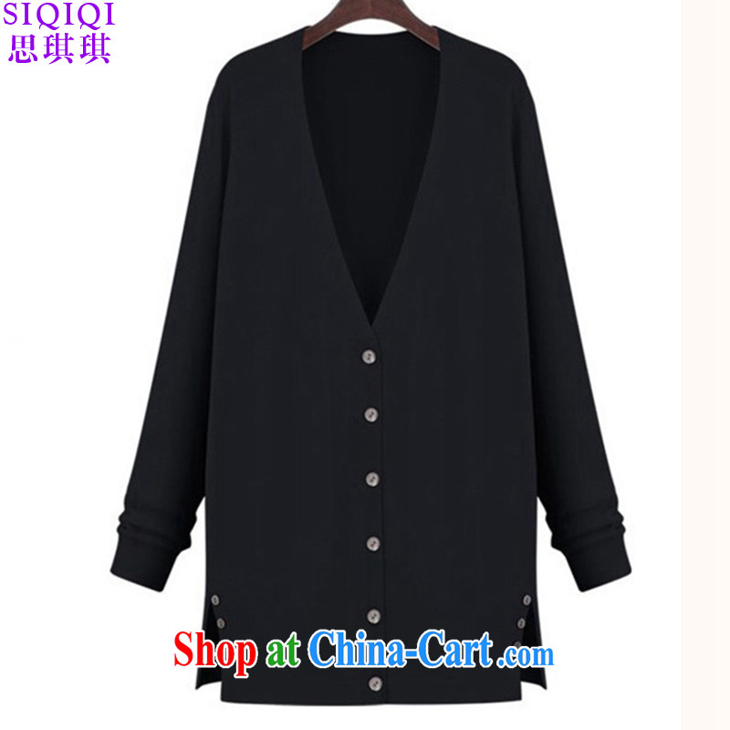 The Qi Qi 2015 spring new products in Europe and America, the Women in long, cultivating knitted shirts female thin cardigan ZZS 1005 black 2 XL