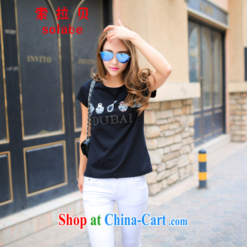Solabe_the Addis Ababa new summer Korean female short-sleeve shirt T female beauty graphics thin large, cotton T-shirt stretch T pension 617 black 3 XL