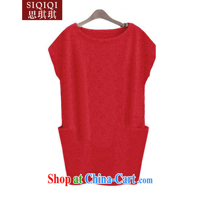 The Qi Qi (SIQIQI) Spring 2015, new products, women mm thick relaxed beauty knitted dresses LYQ 1012 red 4 XL