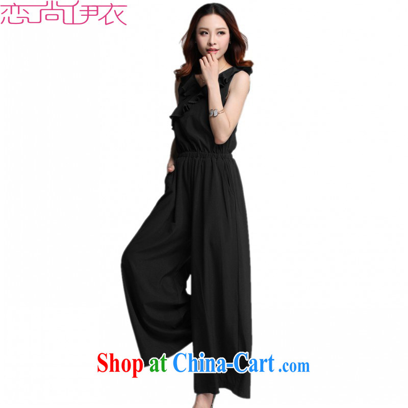 The package mail 2015 summer the ventricular hypertrophy, modern style-trousers Wide Leg trousers OL aura sleeveless trousers skirts thick sister pants black 4 XL approximately 175 - 190 jack