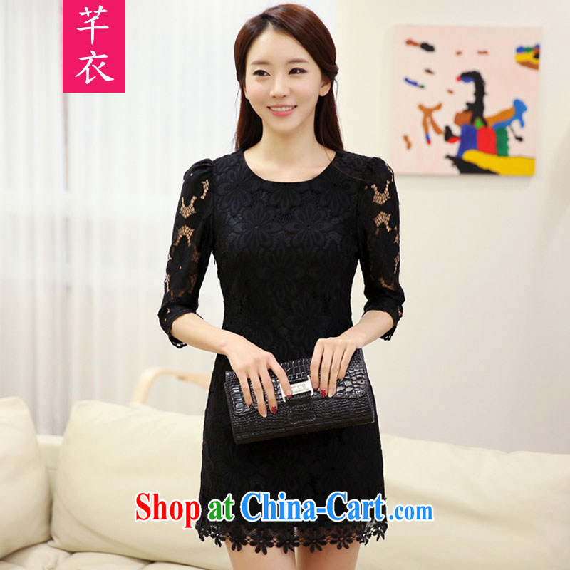 Constitution and clothing increased, fat, female 2015 Korean version reload elegant lace beauty thick sister autumn is the Goddess in cuff-short-skirt black 4XL