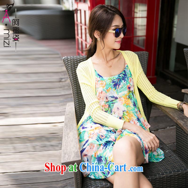The honey beauty summer new thick mm larger female Korean streaks Openwork knitting cardigan sunscreen shirt air-conditioning T-shirt girls 8793 yellow XXL
