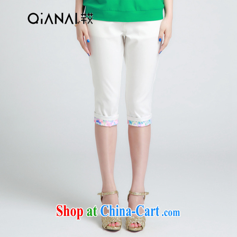 Constitution the XL women 2015 spring and summer with new beauty video thin floral stitching pants 5 pants 1399 white 34